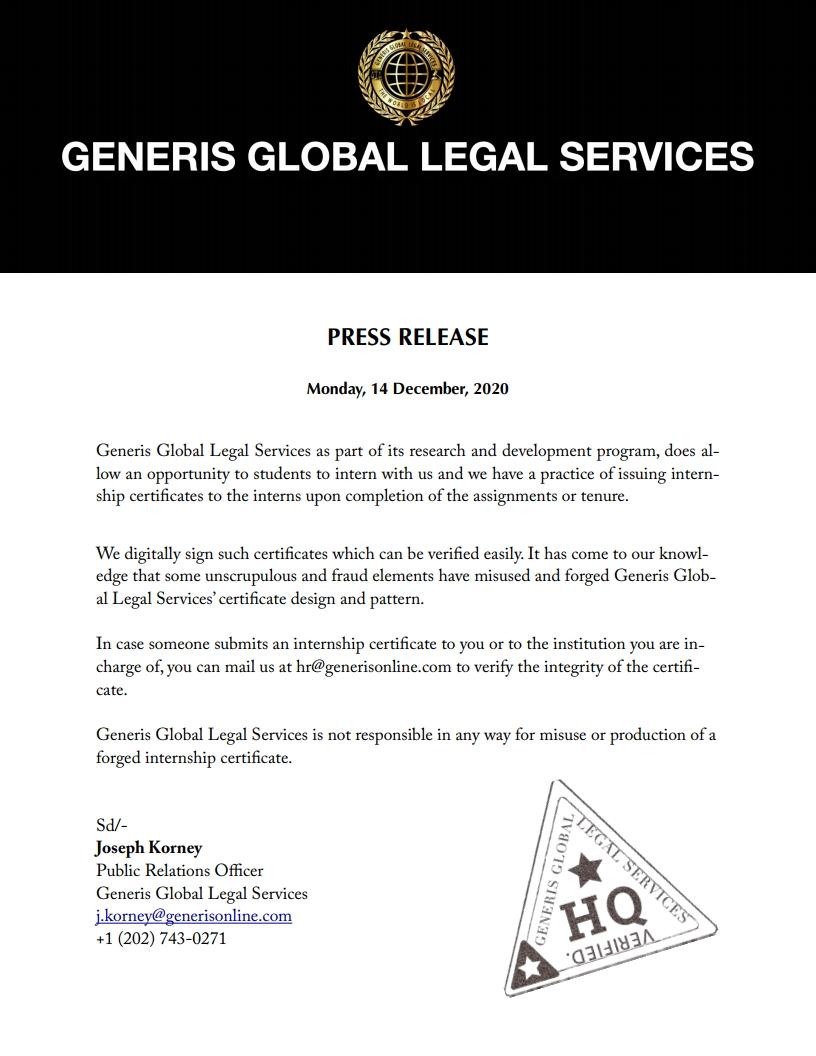 Generis Global Internships Press Release